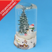 HY-15690 (16) D=9, H=15см. Стеклянная колба со снеговиком у елки, на подставке из полистоуна