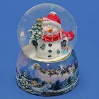 HY-15695 (32) d=6,5см,h=9см Стеклянный шар со снеговиком, на фарфоровой подставке
