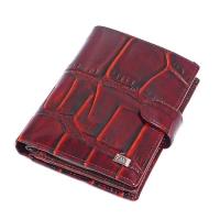 302B-104 Портмоне с отделением для паспорта, 11*14см, натур. кожа, бордовый цвет