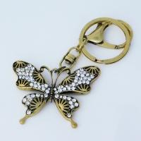 """B8-5048 (12)  Брелок для ключей """"Бабочка"""" , цинковый сплав, эмаль, стразы, 5,5*0,5*10 см,"""