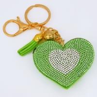 "B8-6005 (12)  Брелок для ключей ""Сердце"" , иск.кожа, стразы, 7*2*15 см, 4 вида"