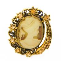 K-005 (12) Кольцо для платка с камеей, 3,5*4,5 см, d - колец 2см
