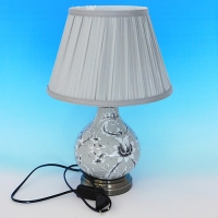 NI-02101 (6) Электрическая лампа с абажуром, серая, керамика D=28 см, H=40 см