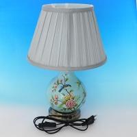 NI-02103 (6) Электрическая лампа с абажуром голубая с ветками, керамика D=28 см, H=40 см