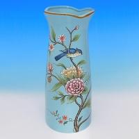 NI-01135 (8) Ваза для цветов голубая с ветками, керамика 15*15*33см