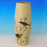 NI-01141 (8)  Ваза для цветов бежевая с птицами, керамика 15*15*35см