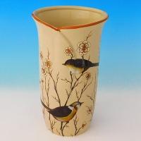 NI-01147 (12)  Ваза для цветов бежевая с птицами, керамика 16*16*30см