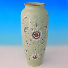 NI-01149 (8)  Ваза для цветов бежевая с птицами на ветке, керамика, 15.5*15.5*35см