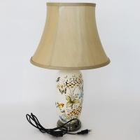 NI-02107 (6) Электрическая лампа с абажуром, бежевая с птицами, керамика D=37 см, H=60 см
