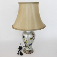 NI-02111 (6) Электрическая лампа с абажуром, серебряный цвет, керамика D=37 см, H=55 см