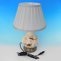 NI-02113 (6) Электрическая лампа с абажуром бежевая с птицами, керамика D=28 см, H=40 см