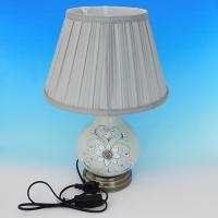 NI-02115 (6) Электрическая лампа с абажуром голубая с узором, керамика D=28 см, H=40 см