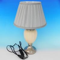NI-02116 (6) Электрическая лампа с абажуром бежевая, керамика D=28 см, H=45 см