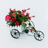 YW-00009 (36) Искусственный цветок в кашпо-велосипеде