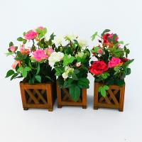 """YW-00010 (48) Искусственный цветок в деревянном кашпо """"Роза"""", в ассортименте 10*10*26 см"""