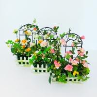 """YW-00011 (60) Искусственный цветок в кашпо """"Роза"""", в ассортименте 17*27*6 см"""