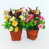 """YW-00012 (24) Искусственный цветок в кашпо """"Роза"""" с гнездом, в ассортименте D=11 см  H=30"""