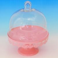 YW-00025 (12) Тортница на ножке со стеклянной крышкой, розовая D=25 см, H=32 см