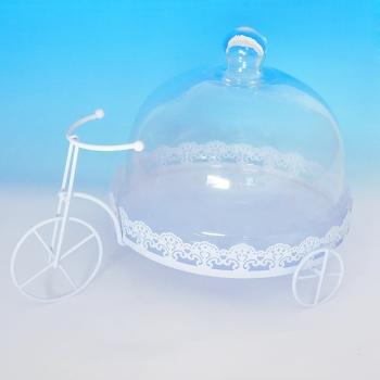 YW-00029 (12) Тортница велосипед со стеклянной крышкой, голубая D=25 см, 34*24 см