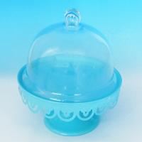 YW-00035 (18) Тортница на ножке со стеклянной крышкой, голубая D=21 см, H=24 см