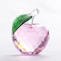 "YW-00099 (24) Декоративная фигурка из стекла ""Яблоко"", розовое, 8*9,5 см"