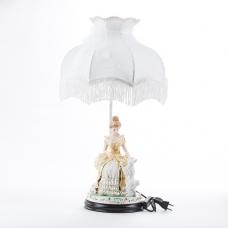 """QP-80199L (4) d=36см, h=55см Лампа с фарфоровой статуэткой """"Девушка с собачкой"""""""