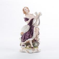 """QP-80221 (4) Фарфоровая статуэтка """"Девушка с арфой"""", 15*14*29 см"""