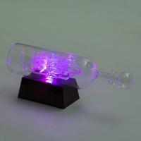 YW-00129 (48) Корабль в бутылке на подставке с 3-мя цветными светодиодами,  24*6*9 см