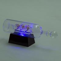 YW-00130 (48) Корабль в бутылке на подставке с 3-мя цветными светодиодами, 24*6*9 см
