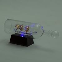 YW-00133 (24) Корабль в бутылке на подставке с 3-мя цветными светодиодами, 26*8*10,5 см