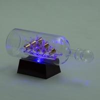 YW-00134 (24) Корабль в бутылке на подставке с 3-мя цветными светодиодами, 26*8*10,5 см