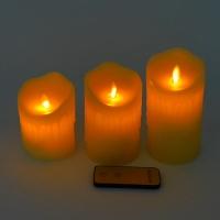 YW-00361 (16) Набор из 3-х свечей из воска с дрожащим язычком, ароматиз., с пультом, 7,5*14 см