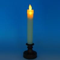 YW-00264 (120) Пластиковая свеча на подставке с дрожащим язычком, 1 светодиод, на батарейках,28*6 см