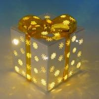BC-38011 (18) Стеклянный подарок со светодиодной подсветкой  12*12*14см
