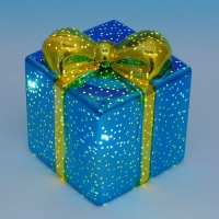 BC-38014 (24) Стеклянный подарок со светодиодной подсветкой  10*10*12см