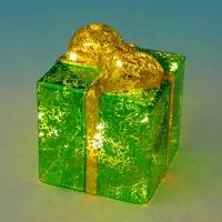 BC-38015 (24) Стеклянный подарок со светодиодной подсветкой  10*10*12см