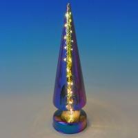 BC-38018 (24) Стеклянная елка со светодиодной подсветкой 10LED, 9*30см
