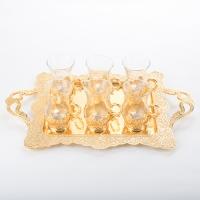 SA-5370/PG Набор из 6 стаканов на подносе, 10*7*11см/d=12cм/46*13.5*28см, 200мл/стакан