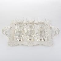 SA-5370/SL Набор из 6 стаканов на подносе, 10*7*11см/d=12cм/46*13.5*28см, 200мл/стакан
