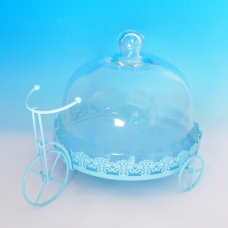 YW-00029/1 (6) Тортница велосипед со стеклянной крышкой, белая D=25 см, 34*24 см