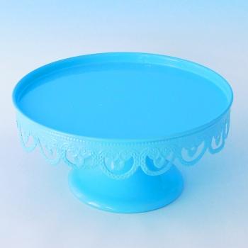 YW-00035/1 Тортница на ножке без крышки, голубая D=21 см, H=12 см