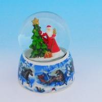 HY-15736 (32) Стеклянный шар с Дедом Морозом, на фарфоровой подставке D=6,5см, H=9см