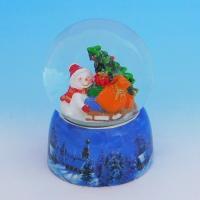 HY-15737 (16) Стеклянный шар со снеговиками, на фарфоровой подставке D=8см, H=11см