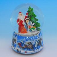HY-15742 (8)  Стеклянный шар с Дедом Морозом, на фарфоровой подставке, музыкальный D=10см,H=14см