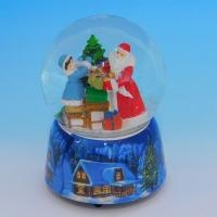 HY-15744 (8)  Стеклянный шар с Дедом Морозом, на фарфоровой подставке, музыкальный D=10см,H=14см