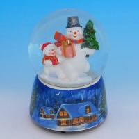 HY-15747 (8)  Стеклянный шар со снеговиком, на фарфоровой подставке, музыкальный D=10см,H=14см