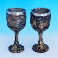 PW-10524 (12) Набор из двух бокалов нерж.сталь/искусственный камень 8*8*17см, 200 мл