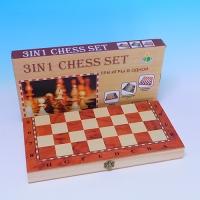 YW-00371 (120) Три игры в одном: шахматы/нарды/шашки, дерево  24*12см