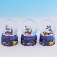 HY-15701/1 (8н.) Набор из 12 стеклян. шаров с домиком, на фарфор. подставке, 4вида D=4,5см, H=7см