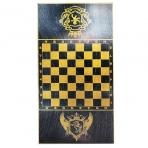 124-16 Нарды, шашки (2в1) большие, черные, рисунок золото